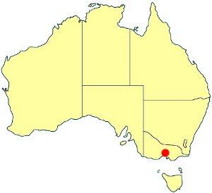 Położenie Melbourne na mapie Australii