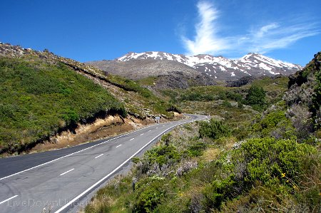 widok na Mount Ruapehu z Bruce Road, Tongariro National Park, Nowa Zelandia