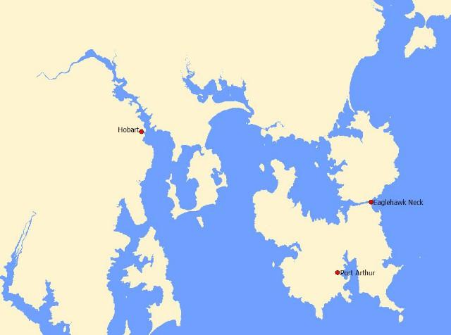 Mapa Port Arthur, Tasmania