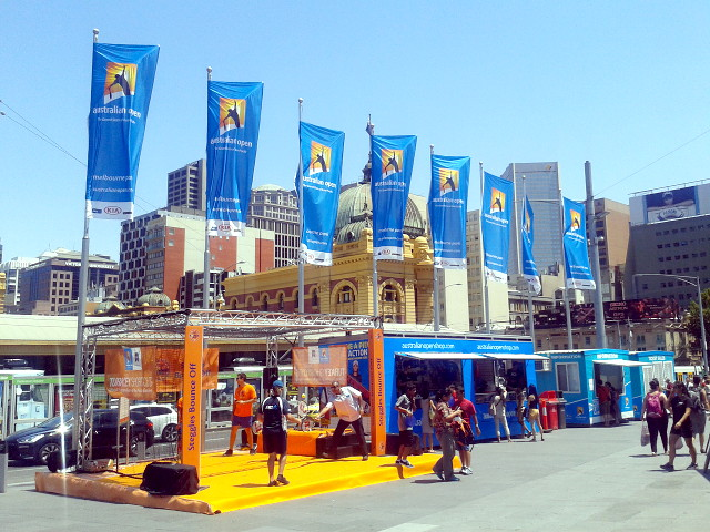 Federation Square w Melbourne podczas Australian Open 2014